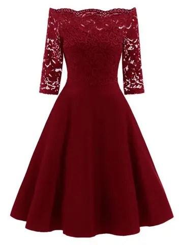 Lace Insert Off The Shoulder Vintage Flare Dress