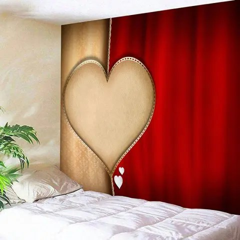 Latest Valentine's Day Heart Printed Home Background Wall Hanging Tapestry