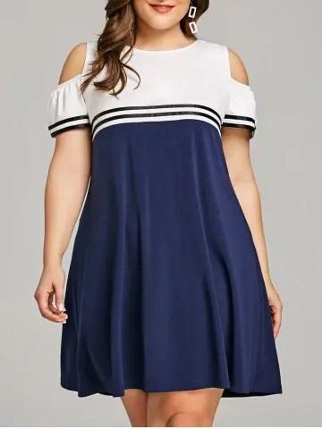 Firstgrabber Plus Size Casual Cold Shoulder Dress