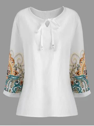Firstgrabber Plus Size Printed Sleeve Drawstring Blouse