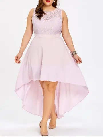 Plus Size Lace Panel High Low Bridesmaid Dress