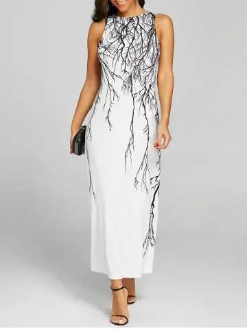 Branch Print Long Prom Dress - WHITE - 2XL