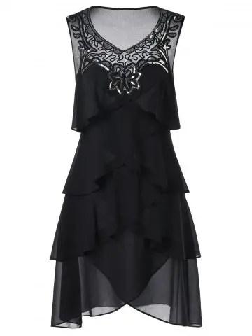 Chiffon Sleeveless Tiered Dress - BLACK - 2XL
