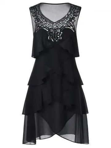 Chiffon Sleeveless Tiered Dress - BLACK - 2XL