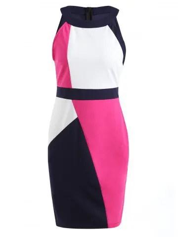 Color Contrast Sleeveless Pencil Dress - MULTI-A - S