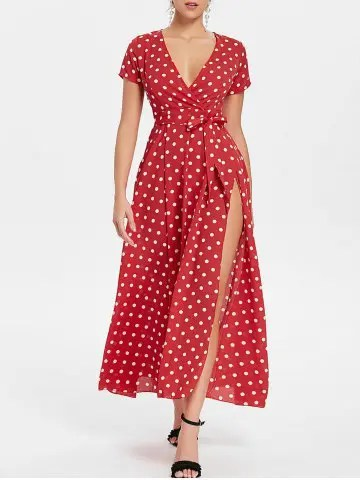 Risultati immagini per https://www.rosegal.com/maxi-dresses/polka-dot-long-surplice-dress-2255134.html