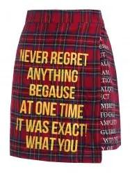 Quote Print Plaid Skirt -