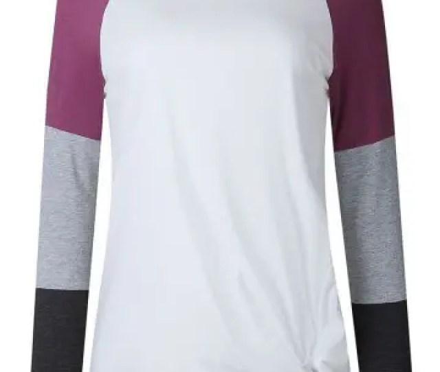Womens Long Sleeve Patchwork Color Block Sweatshirt Casual Tunic Top