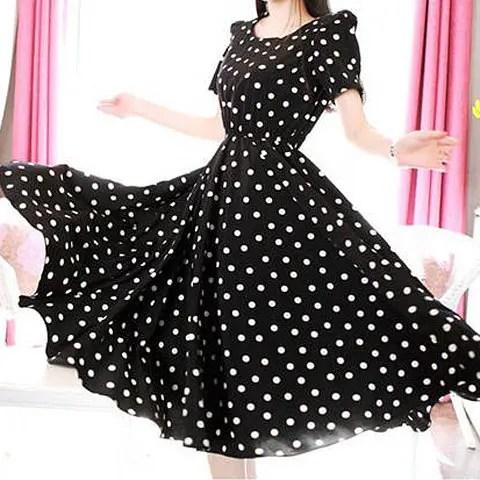 3/4 Sleeves Scoop Neck Waistband Beam Waist Polka Dot Pattern Ruffles Ladylike Women's Dress