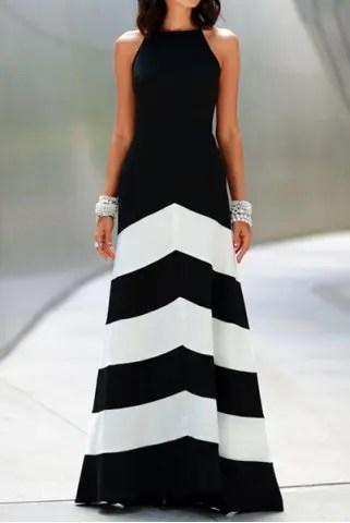 Sexy Sleeveless Color Block Women's Dress