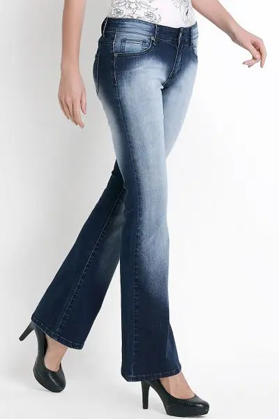 Fashionable Bleach Wash Color Spliced Flare Jeans For Women