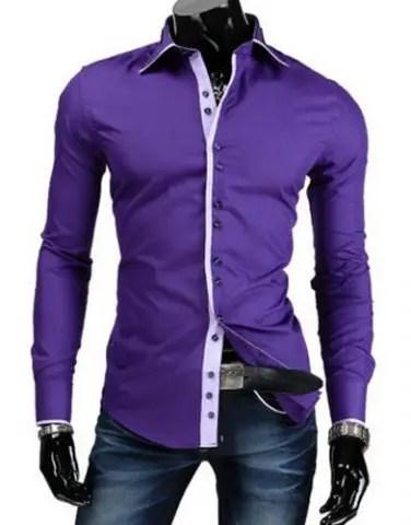 Trendy Slimming Shirt Collar Button Design Color Block Placket Long Sleeve Polyester Shirt For Men