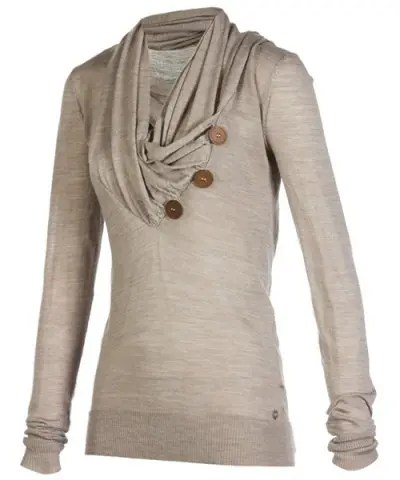 Cowl Neck Long Sleeve Button Design Draped Sweatshirt