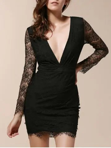 Latest Plunging Neck Long Sleeve Lace Bandage Bodycon Dress BLACK ONE SIZE(FIT SIZE XS TO M)