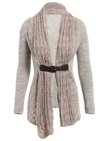 Collarless Long Sleeve Spliced Slimming Cardigan