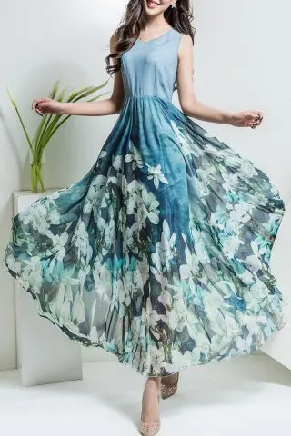 Unique Floral Print V Neck Maxi Chiffon Dress LIGHT BLUE 3XL