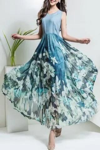 Unique Floral Print V Neck Maxi Chiffon Dress LIGHT BLUE 3XL