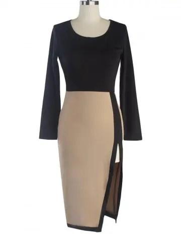Buy Two-Toned Side Slit Sheath Dress LIGHT KHAKI 2XL