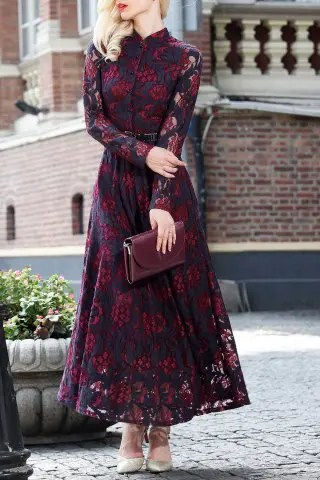 Shop Long Sleeve Lace Maxi Prom Dress WINE RED L