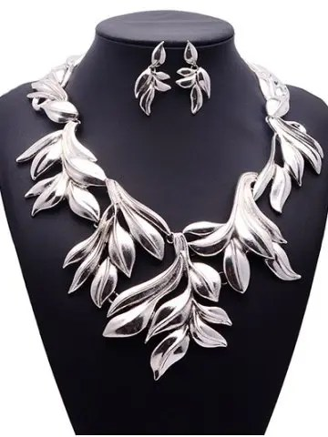 Vintage Tree Leaf Necklace and Earrings - SILVER