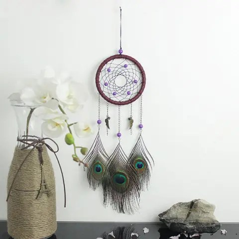 Colormix Circular Net With Peacock Feathers Dreamcatcher