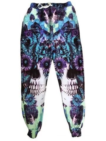 Lace Up Narrow Feet Skull Printed Jogging Pants For Men