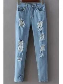 Zaful Broken Hole Narrow Feet Jeans - Light Blue S $20.99