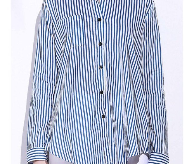 Women Blue White Stripes Long Sleeve Shirt Blue And White L