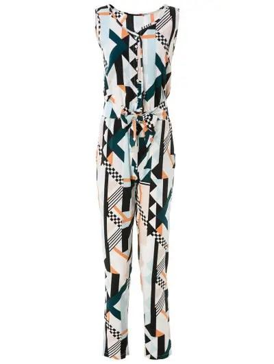 Elegant Sleeveless Geometric Print Jumpsuit