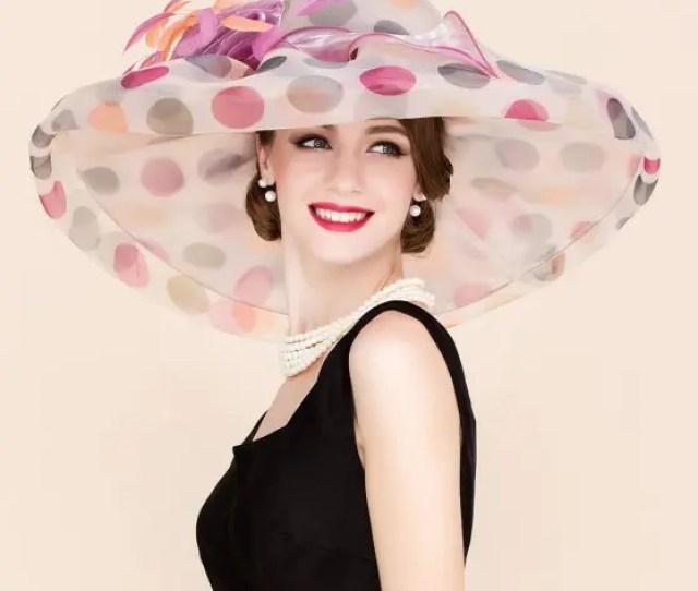 Big Polka Dot Wedding Party Church Big Floppy Sun Hat Light Pink