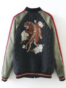 Tiger Embroidered Souvenir Baseball Jacket