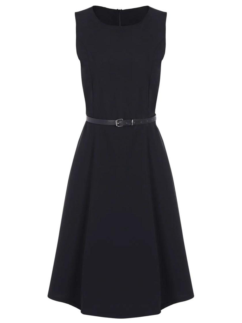 Jewel Neck Vintage Dress with Belt