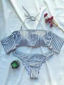 Off The Shoulder Strappy Striped Bikini Set