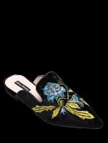 En punta del dedo del pie del terciopelo bordado zapatos planos