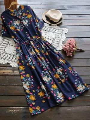 Firstgrabber Flower Buttoned Drawstring Waist Shirt Dress