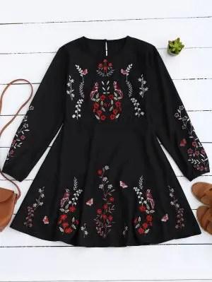 Firstgrabber Floral Embroidered Vintage A-Line Dress