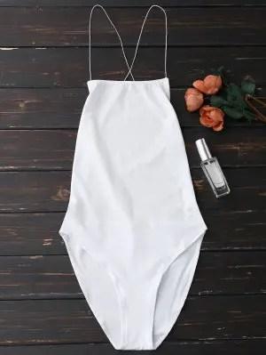 Firstgrabber Backless Criss Cross Bodysuit