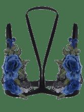Soutien-gorge En Dentelle Applique Floral - Bleu L