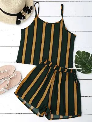 Firstgrabber Cami Striped Top with Shorts