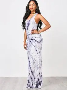 2018 Tie Dyed Maxi Tank Prom Dress In WHITE AND PURPLE S   ZAFUL     Tie Dyed Maxi Tank Prom Dress