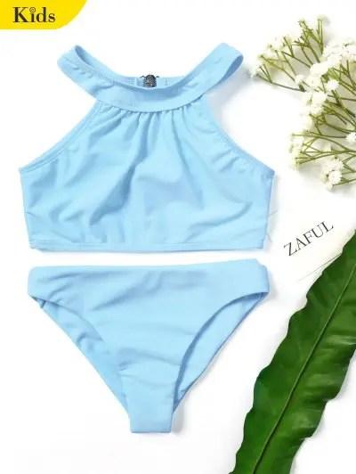 Kids Girls Choker High Neck Bikini Set Light Blue 3t