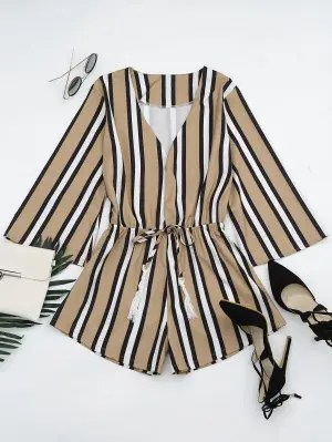 Firstgrabber Plunging Neck Tassels Striped Romper