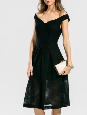Convertible Collar Plain Flare Dress - Black S