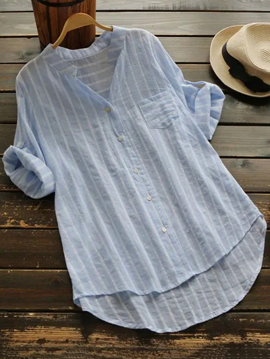 Striped Button Up Pocket Blouse