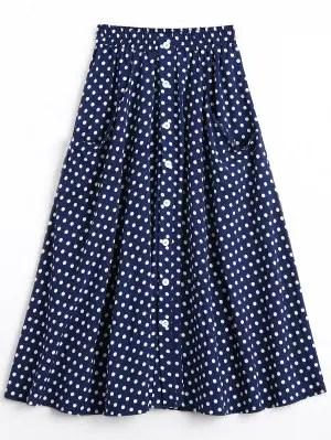 Firstgrabber Button Up Polka Dot Skirt with Pockets