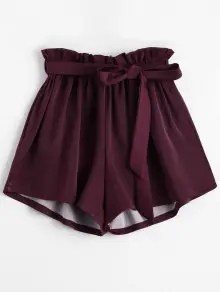 Zaful Smocked Belted High Waisted Shorts - Wine Red $9.99
