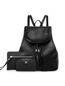 Zaful Tassel Faux Leather Backpack Set - Black $15.61