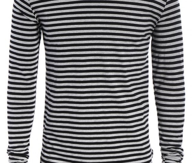 Buy Striped Long Sleeve Mens Jersey Top Black And Grey M