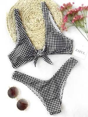 Frente Tie Thong Bikini Set - Branco E Preto S
