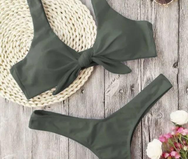 Buy Scrunch Butt Knotted Thong Bikini Army Green S